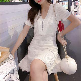 Short-sleeve Patterned A-line Mini Knit Dress