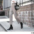 Pleated High Waist Houndstooth Cropped Pants