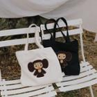 Cartoon Applique Canvas Shopper Bag