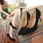 Faux Leather Kitten Heel Pointed Pumps