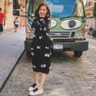 Eye Print Midi Knit Dress