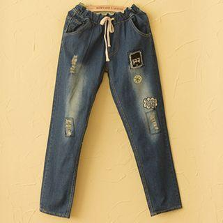 Washed Applique Jeans
