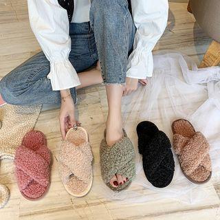 Fleece Cross Strap Slippers