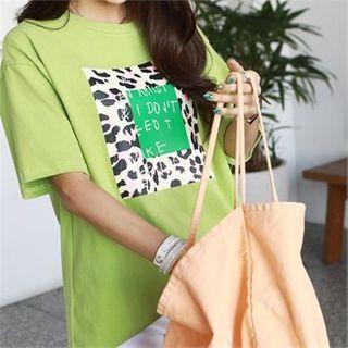 Leopard Letter Cotton T-shirt
