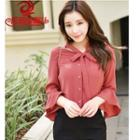 Bow Accent 3/4-sleeve Chiffon Blouse