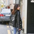 Printed Faux-leather Biker Jacket