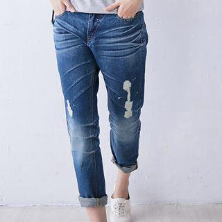 Washed Slim-cut Jeans