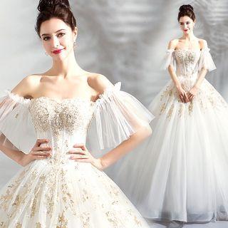 Off-shoulder Ruffled Beaded Ball Gown Wedding Dress