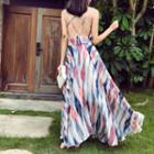 Patterned Strappy Maxi Sun Dress