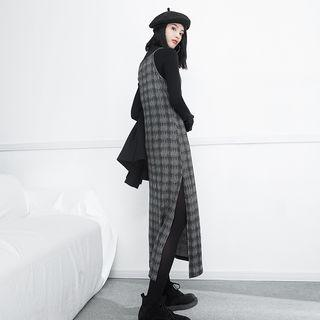 Slit-side Plaid Sleeveless Dress