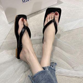 Block Heel Flip Flops