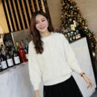 Lace-trim Fluffy Knit Top