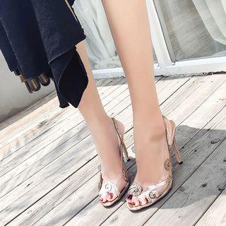 Sequin Slingback Stiletto Heel Sandals