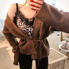 Wool Blend Knit Cardigan With Sash