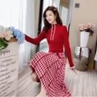 Long-sleeve Check Panel Buttoned Knit Dress