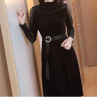 Long-sleeve Accordion Pleat Velvet Dress As Shown In Figure - One Size
