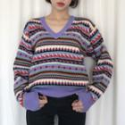 Print V-neck Sweater Purple - One Size