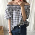 Short-sleeve Off Shoulder Plaid Top