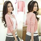 Ruched Open-front Cardigan