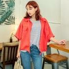 Collared Buttoned Linen Jacket