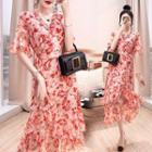 Short-sleeve Wrap Floral Chiffon A-line Midi Dress
