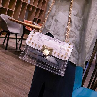 Set: Studded Crossbody Bag + Pouch