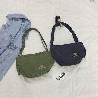 Planet Embroidered Corduroy Crossbody Bag