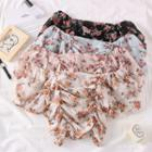 Boatneck Ruched Floral Chiffon Top