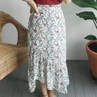 Floral Patterned Ruffle-trim Skirt