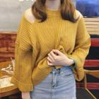 3/4-sleeve Shoulder Cut Out Sweater