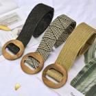 Woven Wood Buckle Belt