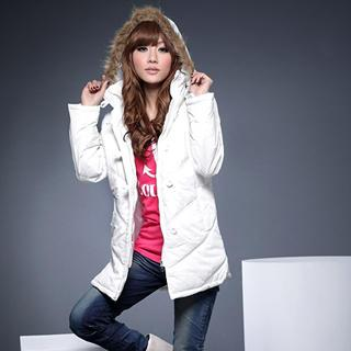 Faux-fur Trim Padded Jacket With Hood