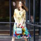 Elbow-sleeve Printed Silk Dress