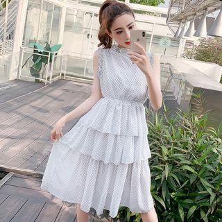 Dotted Sleeveless Tiered Chiffon Dress