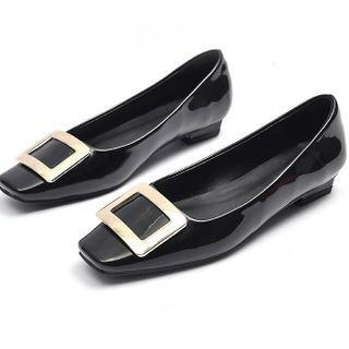 Square Buckled Patent Leather Flats