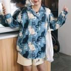 Cat Print Shirt / Lettering Shorts