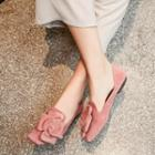 Genuine Leather Flower Accent Flats