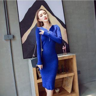 Long-sleeve Zip-accent Knit Dress