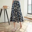 Printed Linen Blend Midi Skirt