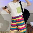 Pocketed Short Sleeve T-shirt / Striped Shorts