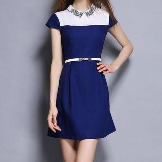 Color Panel Short Sleeve Collared Dress