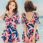 Patterned Cold-shoulder Short-sleeve Swim Dress