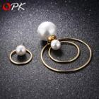 Faux Pearl Non-matching Hoop Earrings