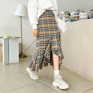 Dip-back Plaid Maxi Mermaid Skirt