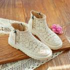 Studded Crochet Panel Ankle Boots