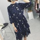 Printed Ruffle Chiffon Dress
