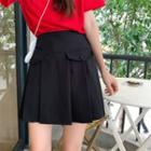 Pocket Pleated A-line Skirt