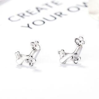 925 Sterling Silver Flowers Stud Earrings 925 Silver - One Size