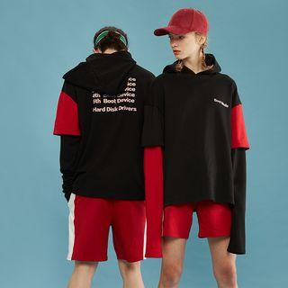 Couple Matching Panel Hooded Lettering Pullover