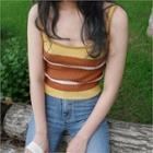 Spaghetti-strap Color-block Knit Top